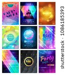 party vector pattern disco club ... | Shutterstock .eps vector #1086185393