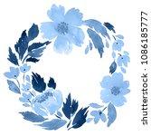 watercolor wreath of loose... | Shutterstock . vector #1086185777