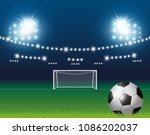 soccer ball and goal with... | Shutterstock .eps vector #1086202037