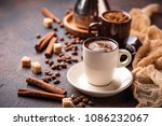 composition with cups of coffee ... | Shutterstock . vector #1086232067