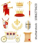 king royal golden attributes of ... | Shutterstock .eps vector #1086273623