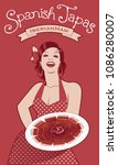 beautiful spanish cook showing... | Shutterstock .eps vector #1086280007