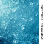 texture of ice on blue background - stock photo