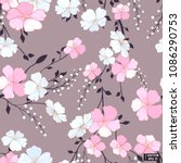 pink flowers  grey seamless... | Shutterstock .eps vector #1086290753