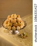 assorted baklava displayed on... | Shutterstock . vector #1086331427