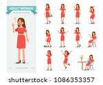 adult woman different poses and ...   Shutterstock .eps vector #1086353357