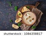 mushroom cream soup. vegan food....   Shutterstock . vector #1086358817