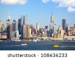 Stock photo manhattan skyline with empire state building over hudson river new york city 108636233