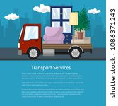 flyer with truck  freight car... | Shutterstock .eps vector #1086371243