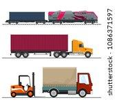 set of overland freight... | Shutterstock .eps vector #1086371597