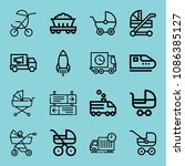 outline transport icon set such ... | Shutterstock .eps vector #1086385127