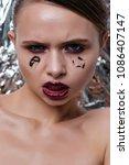 beauty model woman with long... | Shutterstock . vector #1086407147