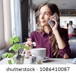 charming woman with beautiful... | Shutterstock . vector #1086410087