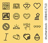 outline set of 16 shapes icons... | Shutterstock .eps vector #1086411713