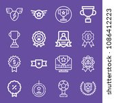 outline set of 16 award icons... | Shutterstock .eps vector #1086412223