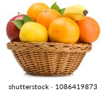 fruits in basket isolated on... | Shutterstock . vector #1086419873
