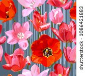 tulips flowers. the pattern is... | Shutterstock .eps vector #1086421883