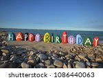 happy birthday with... | Shutterstock . vector #1086440063