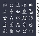 set of 25 water outline icons...   Shutterstock .eps vector #1086456317