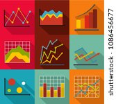 economic study icons set. flat... | Shutterstock . vector #1086456677