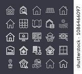 set of 25 house outline icons... | Shutterstock .eps vector #1086466097