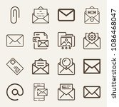 set of 16 email outline icons... | Shutterstock .eps vector #1086468047