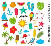 collection of summer icons.... | Shutterstock .eps vector #1086476153