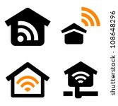 Home Wifi vector icon set - stock vector