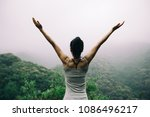 happy woman with outstretched... | Shutterstock . vector #1086496217