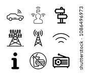 set of 9 signal outline icons... | Shutterstock .eps vector #1086496973