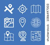 set of 9 location outline icons ... | Shutterstock .eps vector #1086497003