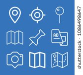 set of 9 location outline icons ... | Shutterstock .eps vector #1086498647