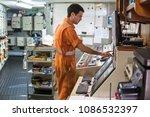 marine engineer officer starts... | Shutterstock . vector #1086532397