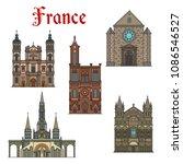 france famous travel landmark... | Shutterstock .eps vector #1086546527