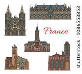 france famous landmark... | Shutterstock .eps vector #1086553853