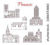 france famous travel landmark... | Shutterstock .eps vector #1086553883