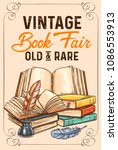 old vintage books and rare... | Shutterstock .eps vector #1086553913