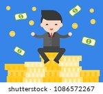 businessman sitting on stack of ... | Shutterstock .eps vector #1086572267