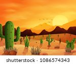 desert landscape background... | Shutterstock .eps vector #1086574343