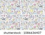 cute unicorn super pattern.... | Shutterstock .eps vector #1086636407