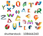 Set of alphabet symbols and icons from A to Z as a logo. Jpeg version also available in gallery - stock vector