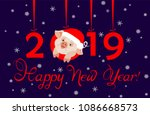 greeting card for 2019 new year ... | Shutterstock .eps vector #1086668573