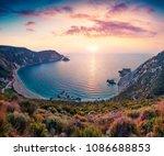 unbelievable spring view of... | Shutterstock . vector #1086688853