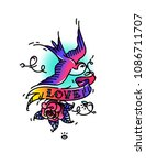 tattoo swallows with the... | Shutterstock .eps vector #1086711707