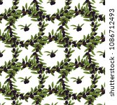 olives seamless pattern with... | Shutterstock .eps vector #1086712493