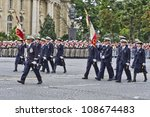 Small photo of PARIS, FRANCE - JULY 14: Air Force Academy in dress uniform at Military parade (Defile) in Republic Day (Bastille Day). Champs Elysees, Paris, France, July 14, 2012