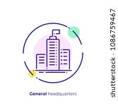 line art headquarters. business ... | Shutterstock .eps vector #1086759467