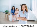 little girls trust a young... | Shutterstock . vector #1086778463