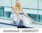elegant fashionable woman... | Shutterstock . vector #1086801077