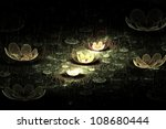 Waterlily or lotus flowers on a pond at night abstract fractal design for backgrounds and wallpapers - stock photo